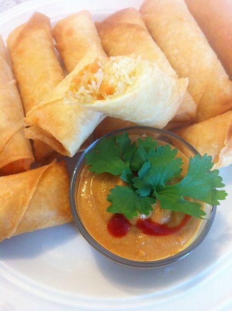 Cómo hacer Vegetariana Springroll Con salsa de maní Receta