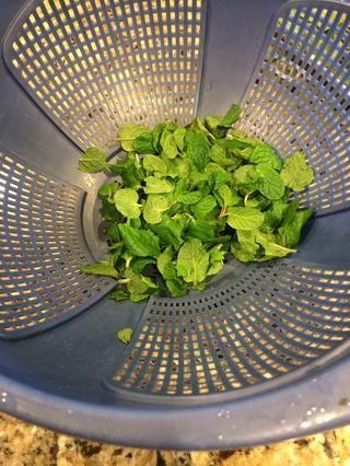 Peal las hojas fuera de los tallos de la albahaca y menta.