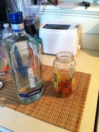 ¡Vodka! Opté por usar el resto de mi Ámsterdam. Añadir ositos de goma a la jarra junto con el vodka.