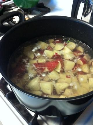 Cubra las papas con agua en una temporada saucepan- medio con sal y llevar a ebullición.