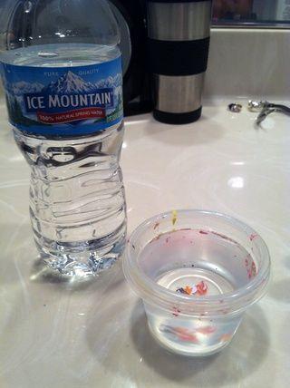 En primer lugar te llene la taza con agua