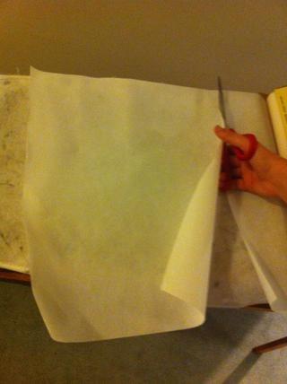 Cortar el papel de cera en un 12 por 16 pulgadas rectángulo ?????? ✂
