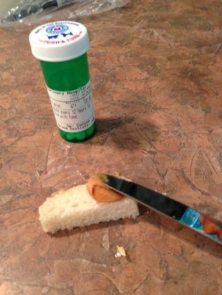 Unte sobre un lado de la tira de pan ...