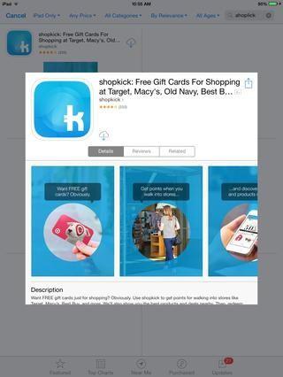 Tarjetas de regalo gratis para simplemente ir de compras? (Shopkick)
