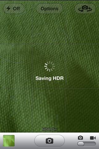 Después de tomar su foto de la pantalla se verá así. dice el ahorro HDR. Hará dos copys una versión normal y una versión HDR.