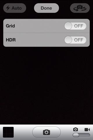 Usted tendrá una pantalla como esta con las siguientes opciones: cuadrícula y HDR.