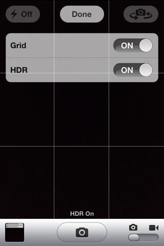 La HDR o el ajuste de rango dinámico alto se utiliza para la toma de una fotografía más detallada con su iPhone. Cuando se ha activado thease dos opciones vitales en haga clic en Hecho.