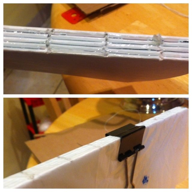 Ahora agregue un poco de pegamento para el spin poner el papel de cera con algunos clips y dejar secar