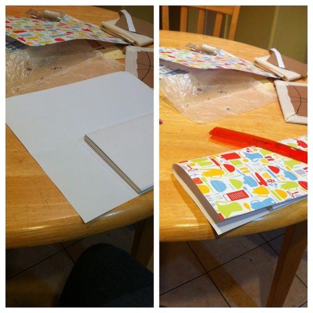 La cubierta interior tiene que ser del mismo tamaño que el papel. Asegúrese de que el golpeteo de su selección es lo suficientemente largo para cubrir todo su libro
