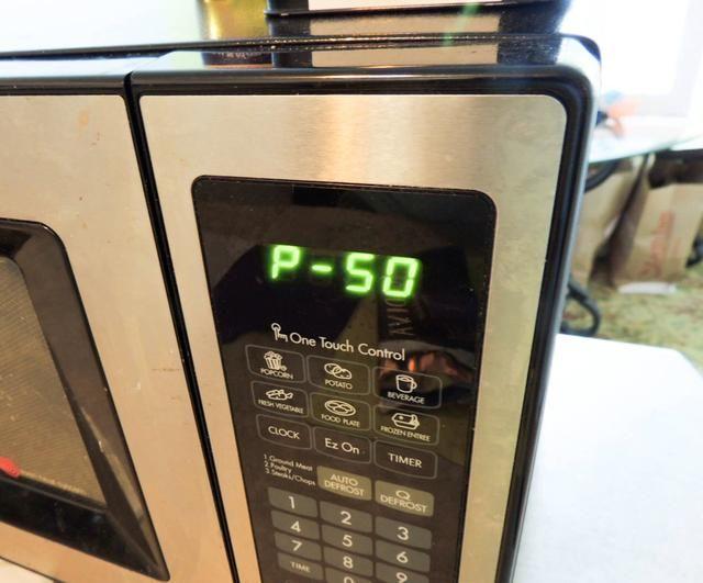 Microondas 45 segundos en 50% de potencia. Para ello se introduce vez primera, como