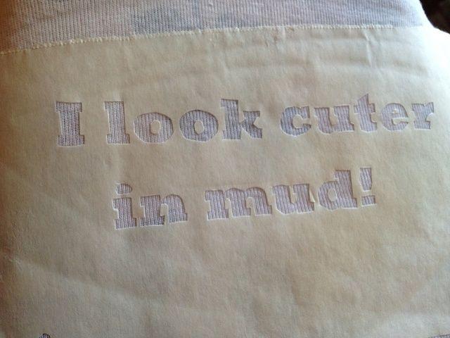 Aquí está mi plantilla planchada en mi onesie.