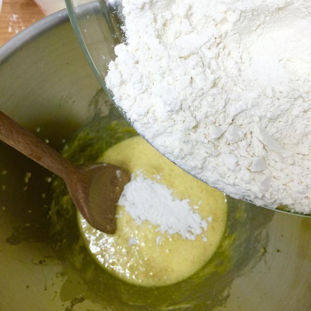 Retire tazón de la batidora eléctrica. Añadir la mitad de la mezcla de harina. Con una cuchara de madera, mezcle la harina (en la figura de S) en la masa.