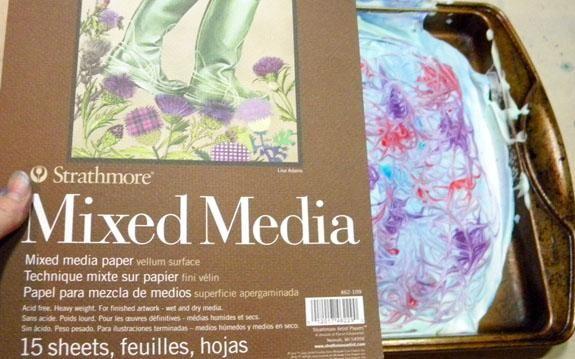 Seguí adelante, esta vez usando mi periódico favorito y hecho algunos hermosos diseños de mármol.