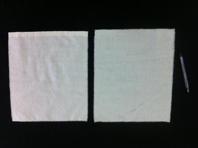 Recoja sus 2 piezas de tela que serán la parte delantera y trasera de la bolsa.