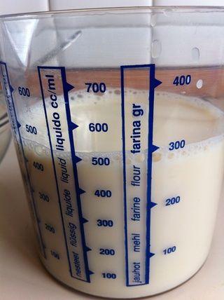 En lugar de leche uso de leche de soja regular (500 ml).
