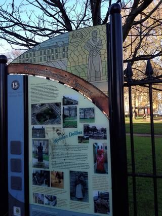 Panel 15,'Northumberland Square, standing next to the Library, where the Square meets Howard Street.