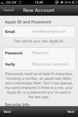 Ingrese su correo electrónico (que también se utilizará como ID de Apple nombre de usuario), Crea tu nueva contraseña