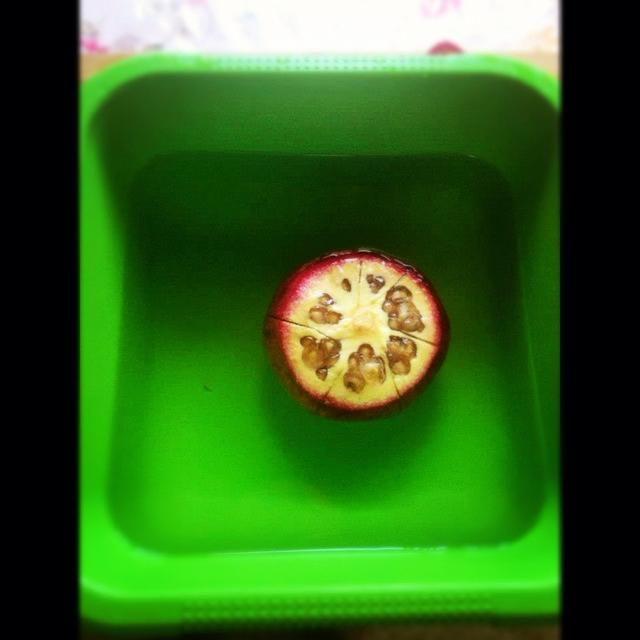 3) Una vez marcado, coloque la granada en el tazón ofvery agua fría y se deja durante unos 5 minutos.