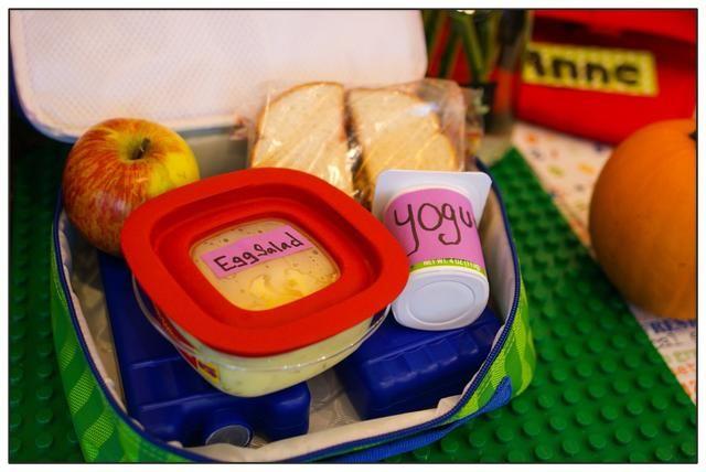 A continuación, coloque los contenedores de alimentos en la parte superior de las bolsas de congelación. Empaca sólo la cantidad de comida que se puede comer en el almuerzo para evitar el almacenamiento de las sobras después de la hora de comer sin las bolsas de congelación congelados.