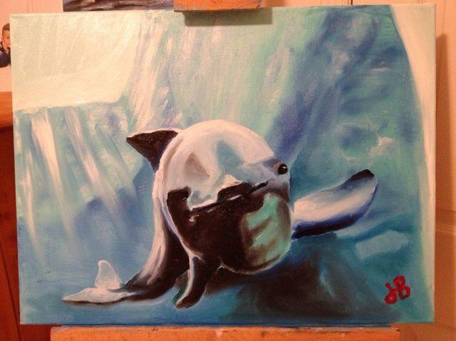 Cómo pintar una marsopa común con los dedos.