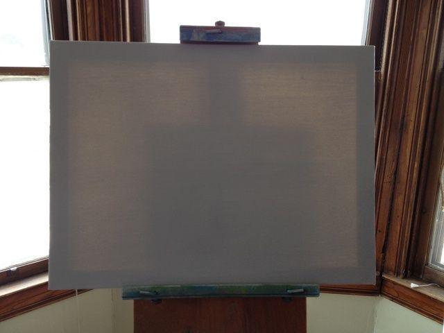 Mezclar un poco de pintura blanca, delgada, y un toque de negro para hacer una imprimación gris nasal. Cubra la lona con una capa uniforme de color gris FINA. Esto permitirá que el resto de los colores se mezclan en el lienzo.