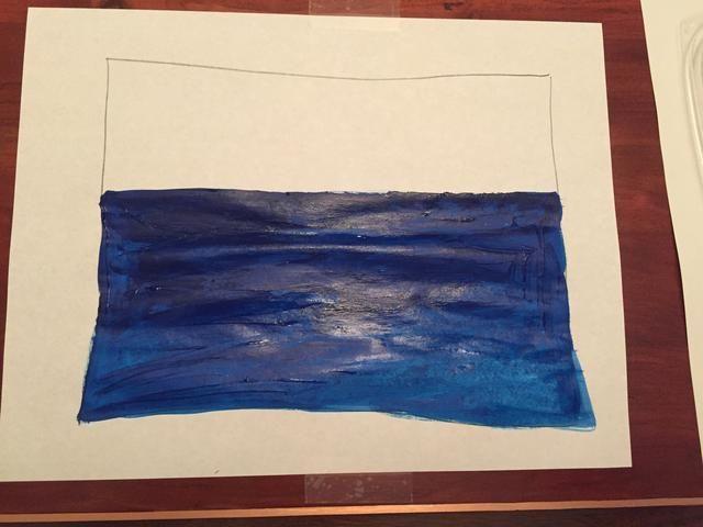 Llene su pintura hasta el borde inferior de la caja con valor 4.