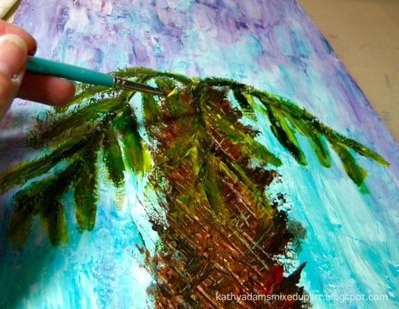 El uso de un cepillo pequeño, redondo, aplique la albahaca por los tallos y las sombras y Shamrock y Limeade de las hojas y las luces. He creado las hojas y haciendo rotar el cepillo redondo y con movimientos largos.