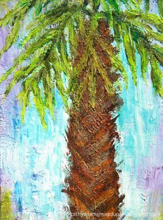 Aquí está un detalle del tronco y hojas. Al dejar el centro de la pintura sobre todo azul y blanco, que trae el ojo's attention to the center of the painting.