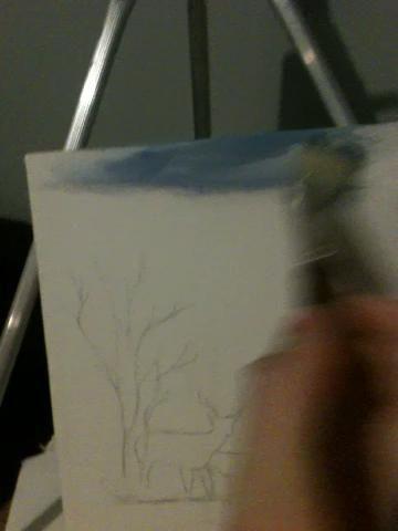Empezar a añadir a ur lienzo. Decidí que el color era un poco demasiado oscuro, así que añadí blanco.