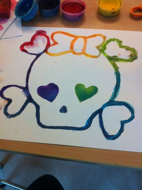 Cómo pintar un cráneo del arco iris