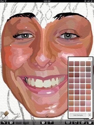 Veo todas sus variaciones de tono de piel como las formas. El uso de dos dedos para medir proporciones uno contra el otro también ayuda a capturar la figura. Por ejemplo los labios son los ojos y medio de ancho.