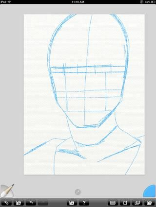Primero empiezo con un sketch cómico del estilo del libro de la figura en lápiz azul 2B. Selecciono la herramienta de lápiz de la izquierda y mis colores de la rueda a la derecha.