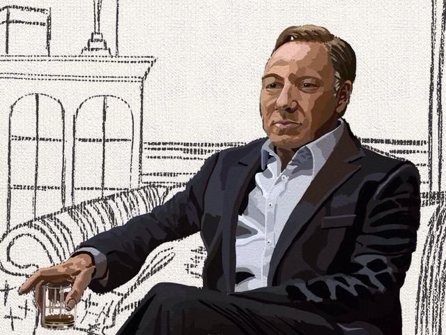 aquí's the finished Frank Underwood. (Kevin Spacey) I create a new background layer so I can paint the furniture and the room.