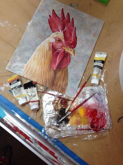 Cómo pintar un retrato del gallo