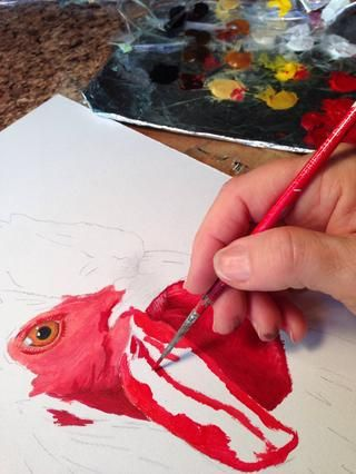 Lo pensé's be most fun to do the face and waddle first. Fun to paint so much bright red!