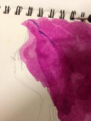 Utilice la herramienta de punteado / repujado en acuarela púrpura. Don't dilute with water