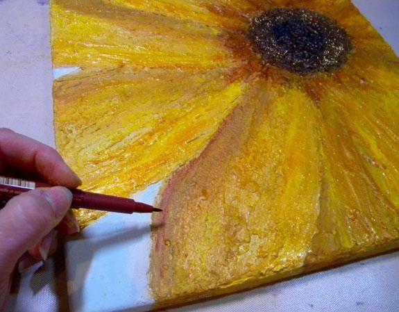 Utilizando una pluma Pitt, hice más sombras alrededor de los pétalos y se unta la tinta en torno a mezclar.