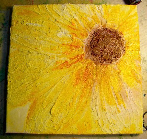 A continuación, añadí Sol Sorbete de los pétalos y un poco al centro marrón también.