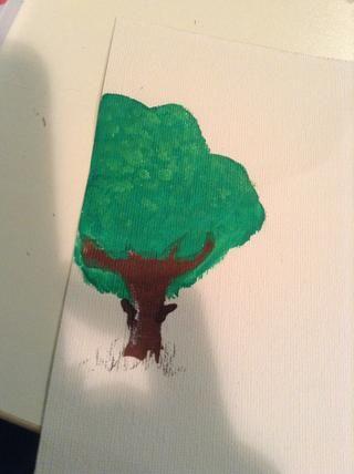 ahora tomar un verde más claro y hacer puntos en la parte superior de desvanecimiento abajo