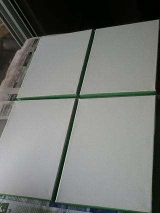 Para empezar, dar a cada lienzo dos capas de pintura blanca. Una vez seco, cinta de los lados de cada lienzo con el fin de proteger la pintura y darle un borde limpio.