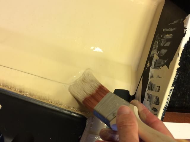 Don't dip your entire paintbrush into the paint! This is how my brush looks after 2 days of painting.