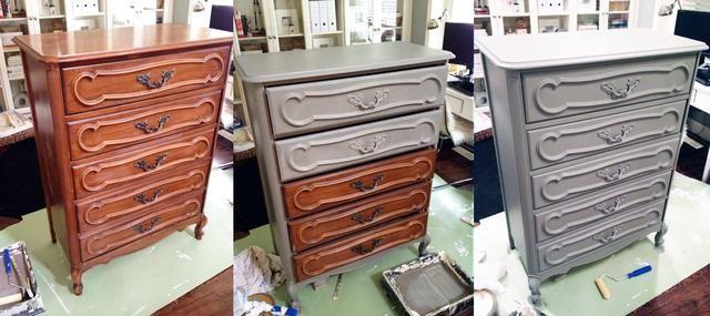 Empiezo a pintar el cajón superior que entonces trabajaba mi camino hacia abajo, tirando de cada cajón un poco más que el anterior para permitirme conseguir todos los bordes.