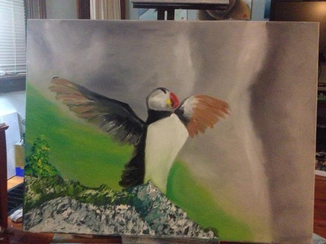Más trabajo pico, a continuación, añadir un poco de color marrón en las alas.