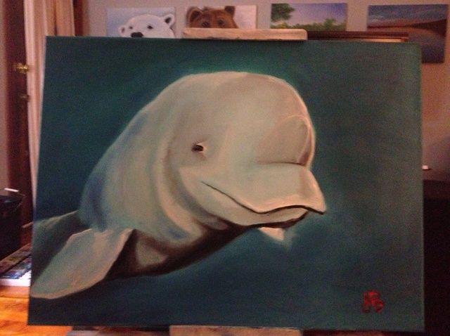 Cómo pintar ballena de la beluga con los dedos