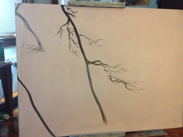 Agregue un poco de negro líquido a su pincel delineador y sentar algunas sucursales en todo el lienzo.