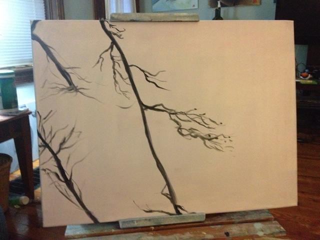 ,, Golpes irregulares tenues delgadas son la clave para hacer ramas y ramitas.