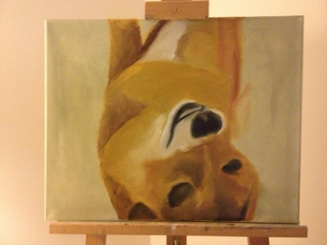 Continúe con sus colores base para bloquear en el resto de Brownie. A medida que avanza, mira tu foto y ajustar su cuerpo fuera de su boceto, según sea necesario.