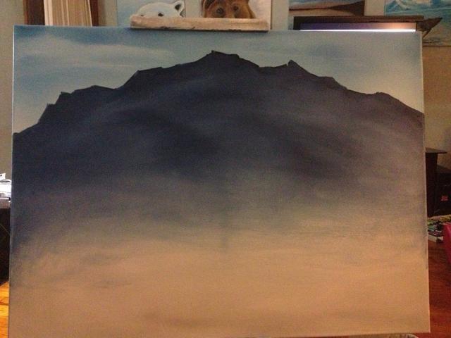 Fingerpaint el color por la montaña, a raíz de las montañas del contorno natural.