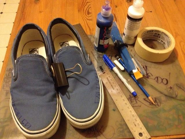 Yo no't used all this supplies but I did used the clip to keep shoes together while I sketched my design. Also, stuff the shoes with rags or paper towels to make them easier to work on.