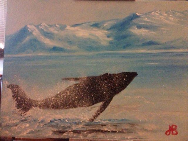 Cómo pintar la ballena jorobada con los dedos.